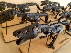 Leather Tyrannosaurus pack in tar pit black. Leather Art, Black Leather, Dinosaur Skeleton, Dinosaur Fossils, Natural Toys, Tyrannosaurus, Skeletons, Prehistoric, Fur