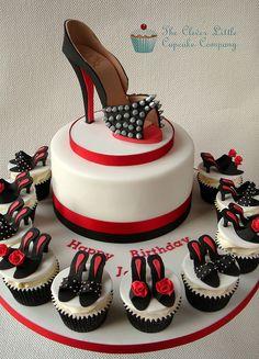 Louboutin Shoe Fondant Cake & Cupcakes