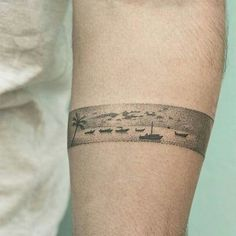 Silhouette tattoo. A sleeve made of bands of places I love?