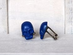 Blue Skull Cufflinks Grooms Blue Cufflinks by BijHotGallery