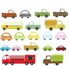 Clip Art -  Vehicles, Cars, Trucks, School Bus, Fire Truck.