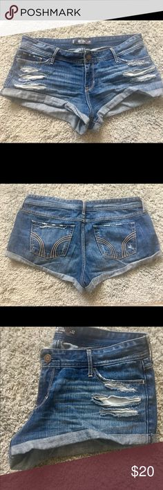 #SALE #Hollister #Denim #Shorts #Happy4th #trendy #SALE #Hollister #Denim #Shorts #Happy4th #trendy worn and washed once! Too short for my long legs...almost 6 foot tall. Needs a good home. They were awesome for a rockstar date night but don't work in my real life. Take them home 🛍 Hollister Shorts Jean Shorts