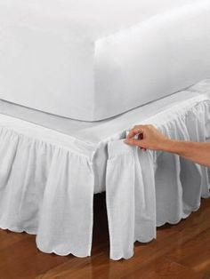 Scalloped Detachable Bedskirt   Our Brittany Style Is Now Detachable! Box  Spring Cover With Velcro Trim Makes It Easy To Put On And Take Off.