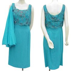1950s - 1960s Vintage Turquoise Silk Beaded Cocktail Dress Bust 36 from toinetterl on Ruby Lane