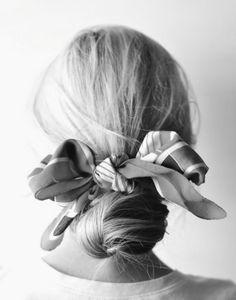 Hair tie. low pony tail bun
