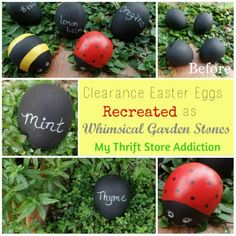 My Thrift Store Addiction : Recreated Whimsical Garden Stones
