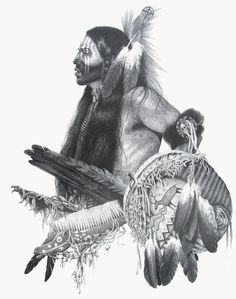 Limited edition prints were made from an original pencil drawing by artist, Joe Belt, of a Native American dancer. The original drawing is no longer available.