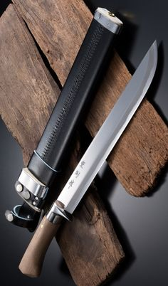 HONMAMON AZUMASYUSAKU Hunting Knife 300mm(abt 11.8 Inch) Blade Edge Aogami Steel with Leather Case