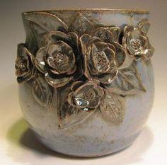 Little Blue Green Vase by claynestpottery.
