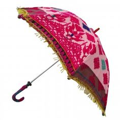 """Pink Parasol Embroidered Fringed Sun Umbrella Women Accessory Gift India 24"""" L"""