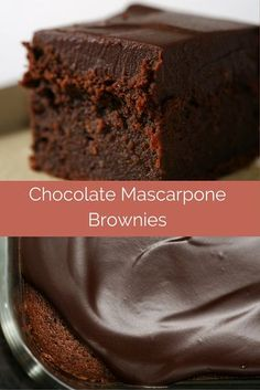 Mascarpone Brownies are so delicious, rich, and decadent. A must for chocolate lovers! - Bake or BreakChocolate Mascarpone Brownies are so delicious, rich, and decadent. A must for chocolate lovers! - Bake or Break Brownie Recipes, Cake Recipes, Dessert Recipes, Pasta Recipes, Just Desserts, Delicious Desserts, Yummy Food, Delicious Chocolate, Decadent Chocolate