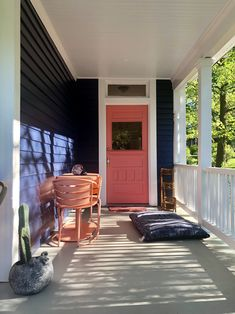 our new pink door (sw dishy coral) Farrow And Ball Paint, Farrow Ball, Navy Houses, Coral, Doors, Outdoor Decor, Pink, Home Decor, Decoration Home