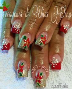Navidad Christmas Tree Nails, Christmas Nail Art Designs, Holiday Nail Art, Xmas Nails, Nail Tip Designs, Fingernail Designs, Acrylic Nail Designs, Elegant Nail Art, Beautiful Nail Art