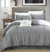 Chic Home 7 Piece Francesca Pleated Comforter Set, King, Silver