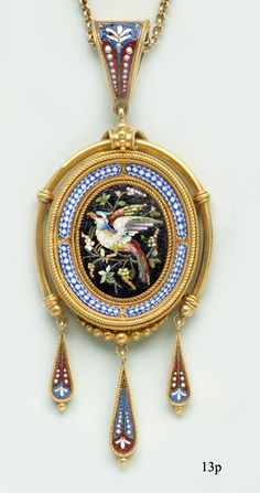 Etruscan-Revival Micro-Mosaic and Gold Necklace at Nelson Rarities,Inc. Portland, Maine