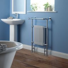 The Brampton heated towel radiator from Hudson Reed is the perfect addition to your traditional bathroom. Featuring a chrome finish and a white four column insert, this heated towel radiator provides a great way to keep towels warm and dry. Bathroom Towel Radiators, Towel Rack Bathroom, Towel Racks, Bathroom Storage, Column Radiators, Hudson Reed, Window Types, Towel Warmer, Heated Towel Rail