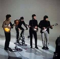 "Shooting the ""I Feel Fine"" promotional video - The Beatles"