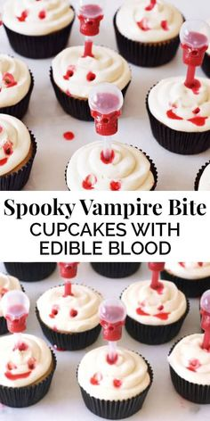 These Spooky Vampire Bite Cupcakes with Edible Blood are amazing Halloween treats! Infusing the cupcakes with edible blood makes them extra sweet and creepy! || The Butter Half Spooky Treats, Halloween Treats, Halloween Party, Halloween Baking, Halloween Foods, Halloween Desserts, Spooky Halloween, Halloween Cupcakes, Snickers Cupcakes