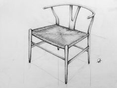 my freehand sketch 'Whisbone Chair' or 'Y-chair' design by Hans J. Wegner - Aug 2014 #ChairSketch