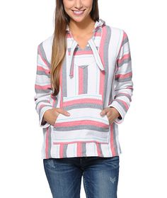 Take your style on a vacation south of the boarder in the Senor Lopez poncho for girls. This pullover style hooded poncho from Senor Lopez is made from recycled tees and comes in a White, Graphite and Coral stripe pattern that will help you add a fun and