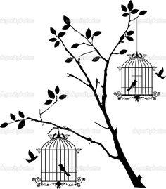 Silhueta de árvore com pássaros voando e pássaro em uma gaiola — Ilustração de Stock #33324901