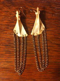 Real Bone Earrings Jewelry, Muskrat scapulas, Bone Jewelry, Gold Elegant Delicate. $12.00, via Etsy.