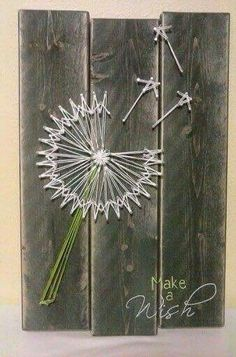 String art- How clever ! Love the barn board backing! - kim hagedorn String art- How clever ! Love the barn board backing! String art- How clever ! Love the barn board Cute Crafts, Crafts To Make, Arts And Crafts, Diy Crafts, Diy Wall Art, Diy Art, Arte Linear, String Art Patterns, Craft Night