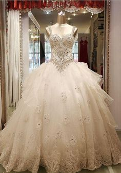 Cheap Spaghtti Stap Ball Gown Crystal Beaded Custom Made Long Formal Bridal Design Robe De Mariee Sexy Bling Wedding Dresses Free Measurement