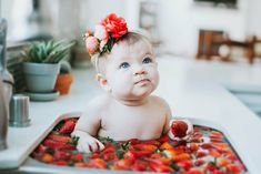 New Ideas Bath Photoshoot Baby Strawberry Bath Photography, Children Photography, Photography Ideas, Newborn Session, Newborn Photos, Baby Milk Bath, Warm Paint Colors, March Baby, Contemporary Barn