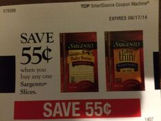 Sargento Cheese Slices ~ August 17, 2014 ~ $0.55 on ONE (1)