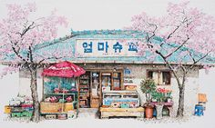 Artist Me Kyeoung Lee's delicate and charming convenience store drawings offer a unique look at South Korea's often overlooked corner stores.