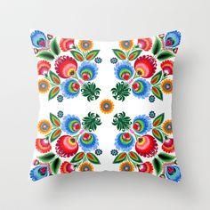 Polish Folk Pattern Throw Pillow by bachullus - $20.00