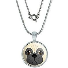 Pug Face - Dog Pet Pendant with Sterling Silver Plated Chain
