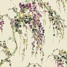 Sample Lovebirds Wallpaper in Purple and Cream design by Carey Lind... (14 AUD) ❤ liked on Polyvore featuring home, home decor, wallpaper, wallpaper samples, watercolor wallpaper, purple wallpaper, purple home accessories, purple home decor and beige wallpaper