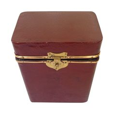 Chic red box for Valentine's Day. Vintage Leather Box on Chairish.com