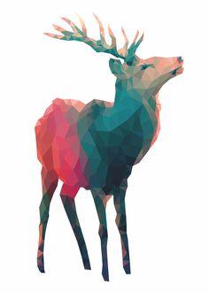 Print im Polygonstil von Studio Vieleck, Motiv: stolzer Hirsch #poly #polygon #poster #deer