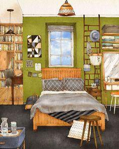 Ilustración dormitorio detalles by aeppol