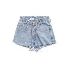 Rokit Recycled Pale Blue Denim Cut Off Shorts W25 ❤ liked on Polyvore featuring shorts, bottoms, pants, short, micro shorts, micro denim shorts, mini short shorts, mini shorts and cut off short shorts