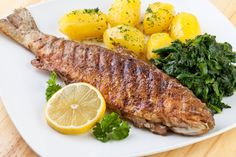 Photo about Pan fried trout with potato and spinach. Pan Fried Trout, Grilled Trout, Czech Recipes, Lemon Butter, Fish And Seafood, Food Inspiration, Spinach, Fries, Grilling