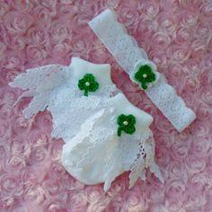 St Patricks day baby girl set headband frilly socks by JaminaRose, $13.00