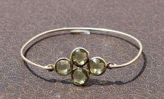 Green Amethyst Four Gemstone Attached Bangle by gemsnjewelryworld