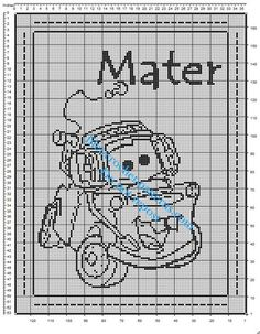 Free crochet filet pattern baby blanket with Disney Cars Mater
