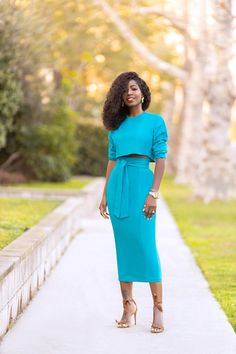 Off Shoulder Top + Belted Midi Skirt – StylePantry Midi Skirt Outfit, Pencil Skirt Outfits, Pleated Midi Dress, Dress Skirt, Dress Outfits, Wrap Dress, Classy Outfits, Pretty Outfits, Pretty Clothes