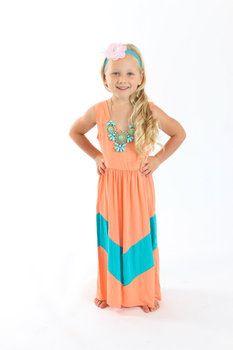 Apricot and Aqua Chevron Kids Dress