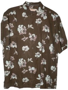 Tommy Bahama Hibiscus Heights Silk Camp Shirt- (Color: Coffee, Size XL)