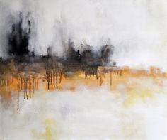 Dark Horizon Original Abstract Painting  Yellow by Natureandart, $290.00