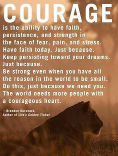 ~Brendon Burchard.....on Courage. My daughter is the most courageous person I know.