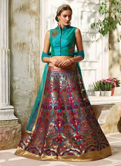 Buy Phenomenal Embroidered Work Multi Colour A Line Lehenga Choli, Online