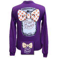 South Carolina Clemson Big Bow Mason Jar Girlie Bright Long Sleeves T Shirt