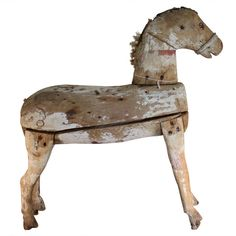 Wooden Horse | From a unique collection of antique and modern sculptures and carvings at http://www.1stdibs.com/furniture/folk-art/sculptures-carvings/